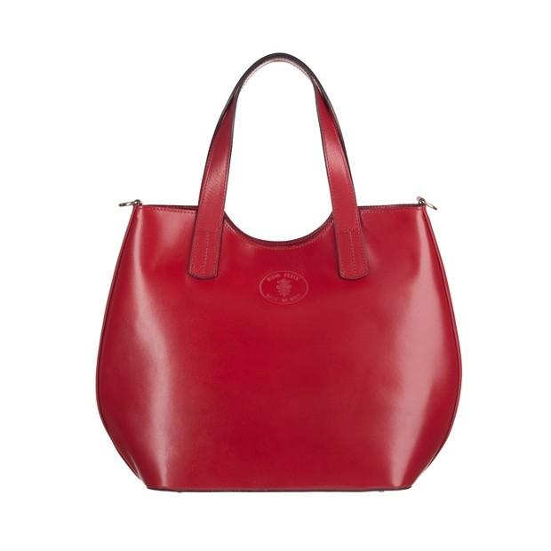 Włoska torebka shopper bag gładka skóra bordowa (3551)