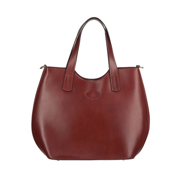 Włoska torebka shopper bag gładka skóra brązowa (3552)