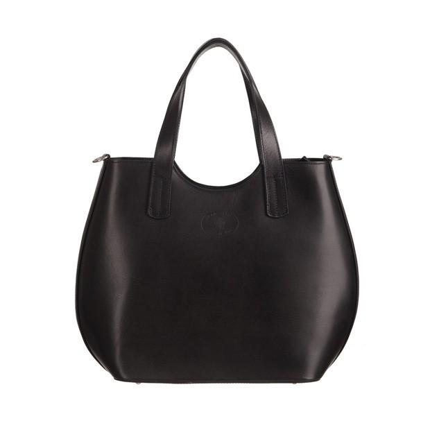 Włoska torebka shopper bag gładka skóra czarna (3553)