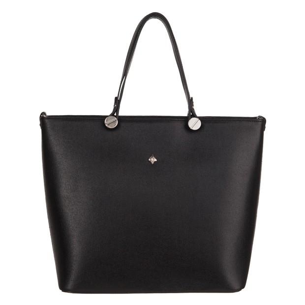 Włoska klasyczna torebka skóra saffiano czarna (3554)