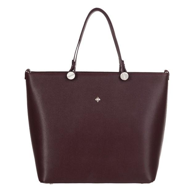 Włoska klasyczna torebka skóra saffiano brązowa (3555)