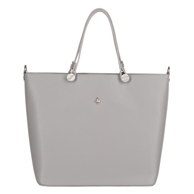 Włoska klasyczna torebka skóra saffiano jasnoszara (3556)