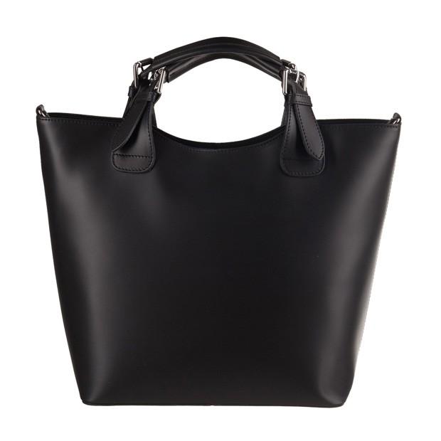 Włoska torebka shopper bag A4 matowa skóra czarna (3559)