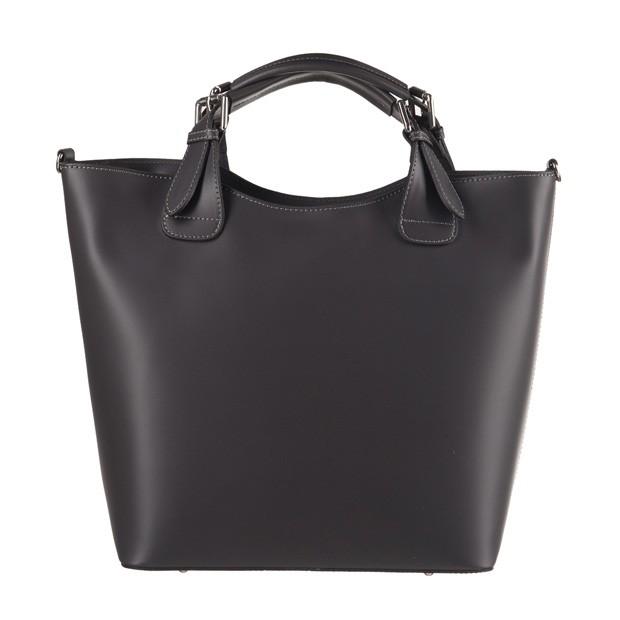 Włoska torebka shopper bag A4 matowa skóra grafitowa (3560)