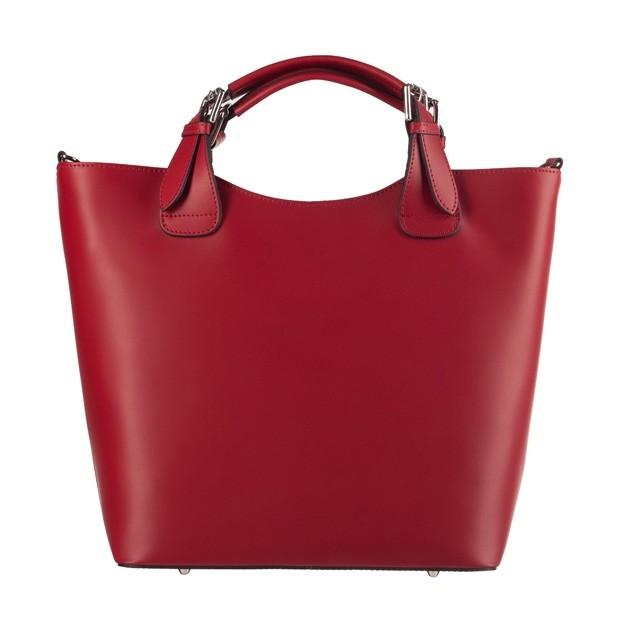 Włoska torebka shopper bag A4 matowa skóra czerwona (3561)