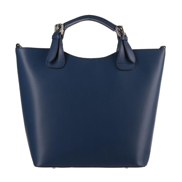 Włoska torebka shopper bag A4 matowa skóra granatowa (3562)