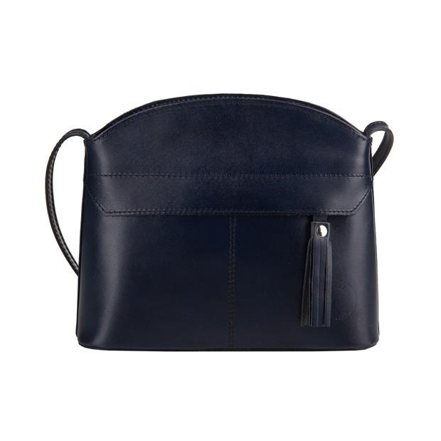 Vera Pelle - Włoska skórzana torebka listonoszka z kieszonką i frędzlem granatowa (3574)