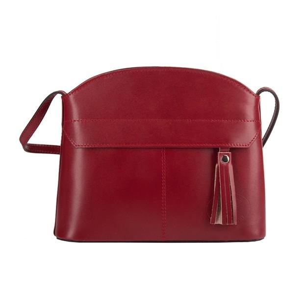 Vera Pelle - Włoska skórzana torebka listonoszka z kieszonką i frędzlem bordowa (3576)