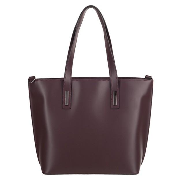 Włoska klasyczna torebka A4 matowa skóra bordowa (3587)
