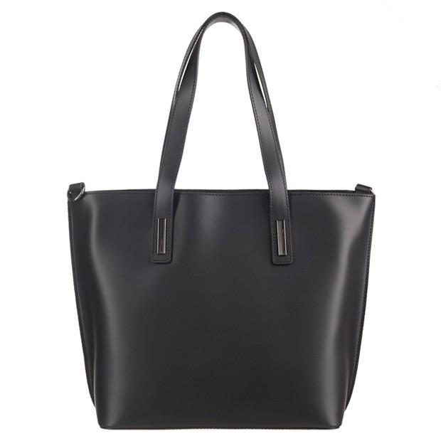 Włoska klasyczna torebka A4 matowa skóra czarna (3589)