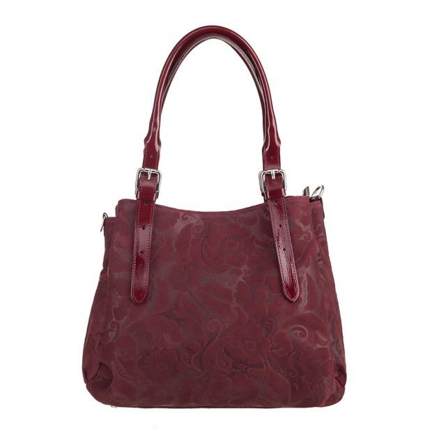 Włoska skórzana elegancka torebka kuferek tłoczona bordowa (3591)