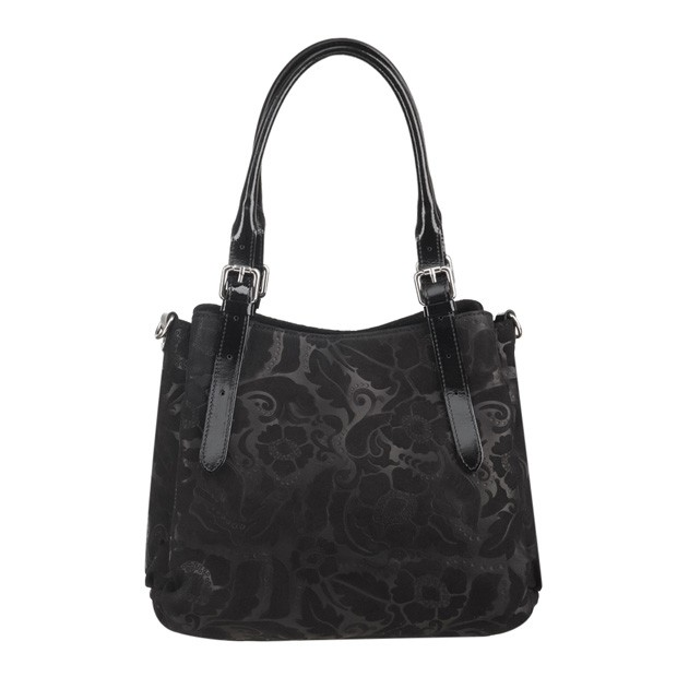 Włoska skórzana elegancka torebka kuferek tłoczona czarna (3592)