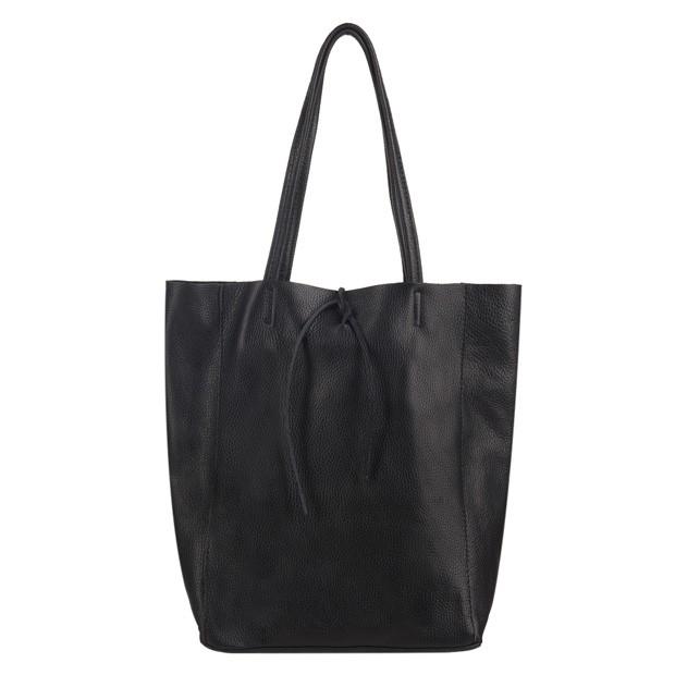 Włoska torebka skórzana worek A4 czarna (3595)