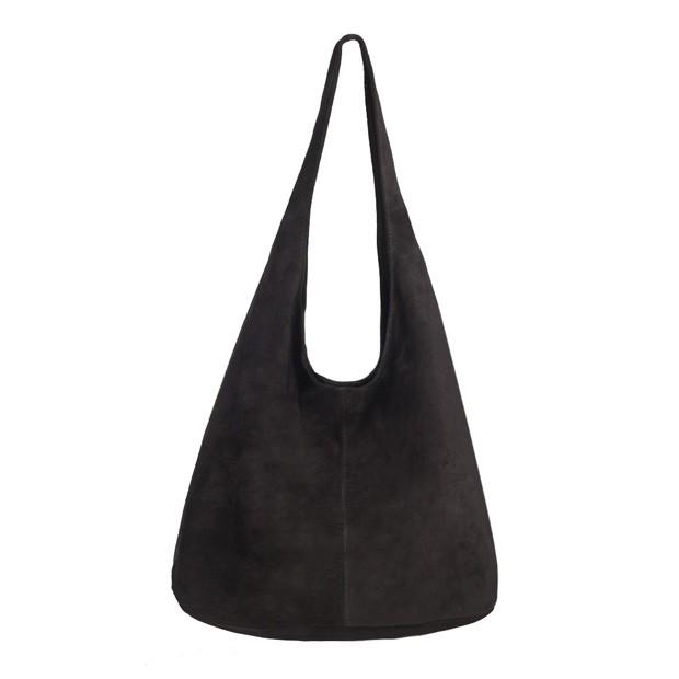 Włoska torebka worek zamsz naturalny czarna (3598)