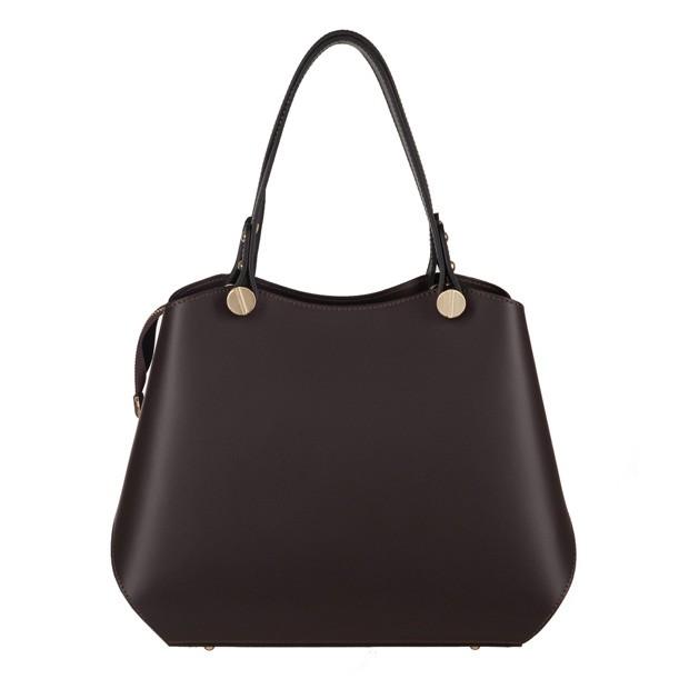 Vera Pelle - Włoska elegancka torebka kuferek matowa skóra ciemny brąz (3618)