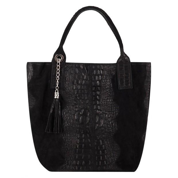 Włoska torebka worek A4 zamsz + krokodyl czarna (3646)