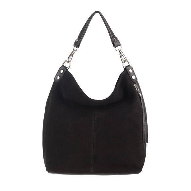 Włoska torebka worek z frędzlami zamsz naturalny czarna (3661)
