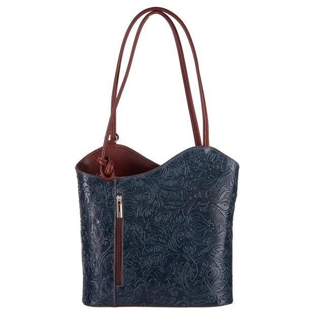 Florence - Skórzana włoska torebka plecak 2w1 tłoczona skóra granatowa+brąz (3686)