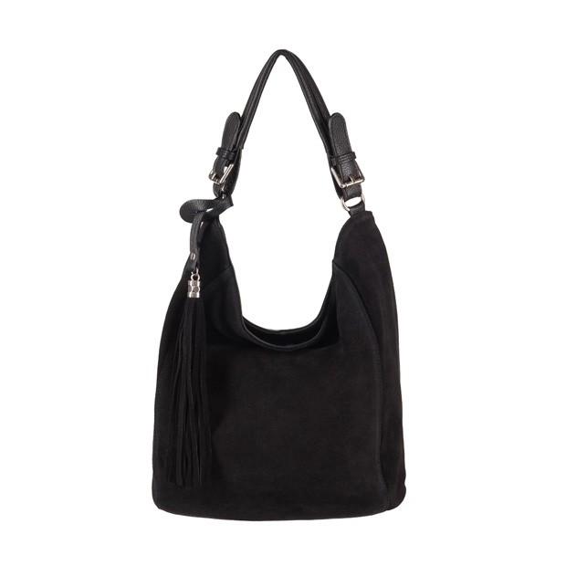 Włoska torebka worek z frędzlami zamsz naturalny czarna (3689)