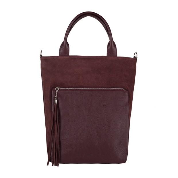 Włoska torebka worek z frędzlami A4 zamsz+skóra bordowa (3704)
