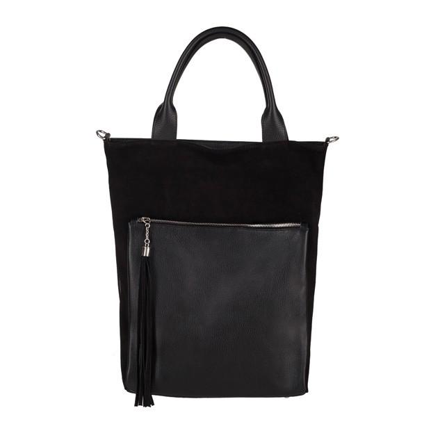 Włoska torebka worek z frędzlami A4 zamsz+skóra czarna (3705)