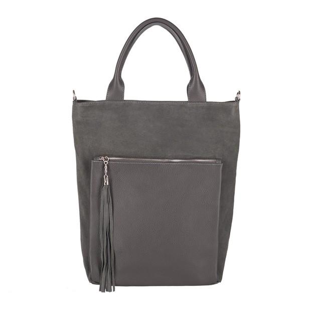 Włoska torebka worek z frędzlami A4 zamsz+skóra grafitowa (3706)