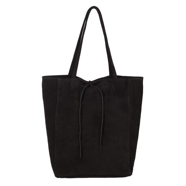 Włoska torebka worek A4 zamsz czarna (3708)