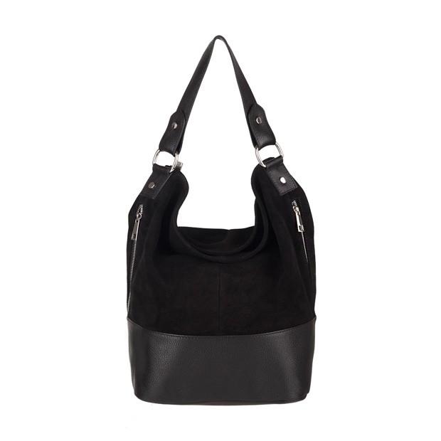 Włoska torebka worek z zamkami A4 zamsz+skóra czarna (3712)