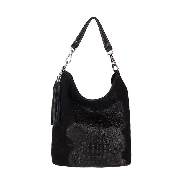 Włoska torebka worek z frędzlami zamsz+krokodyl czarna (3716)