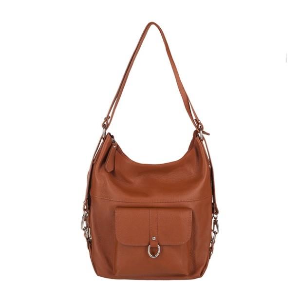 Włoska skórzana torebka - plecak 2w1 camel (3721)
