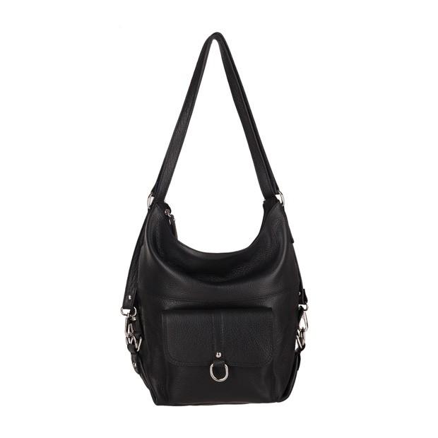 Włoska skórzana torebka - plecak 2w1 czarna (3722)