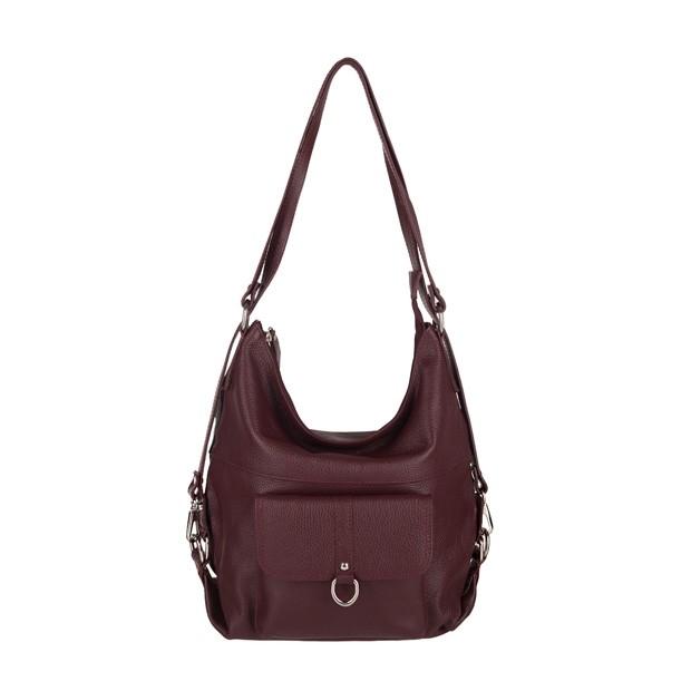 Włoska skórzana torebka - plecak 2w1 bordowa (3723)
