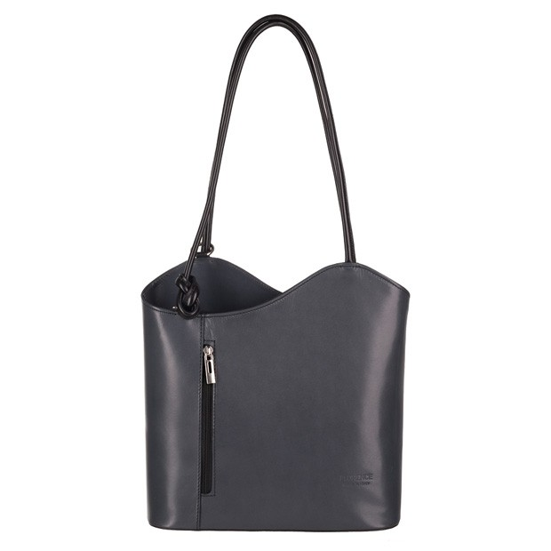 Florence - Skórzana włoska torebka plecak 2w1 grafit+czarny (3724)