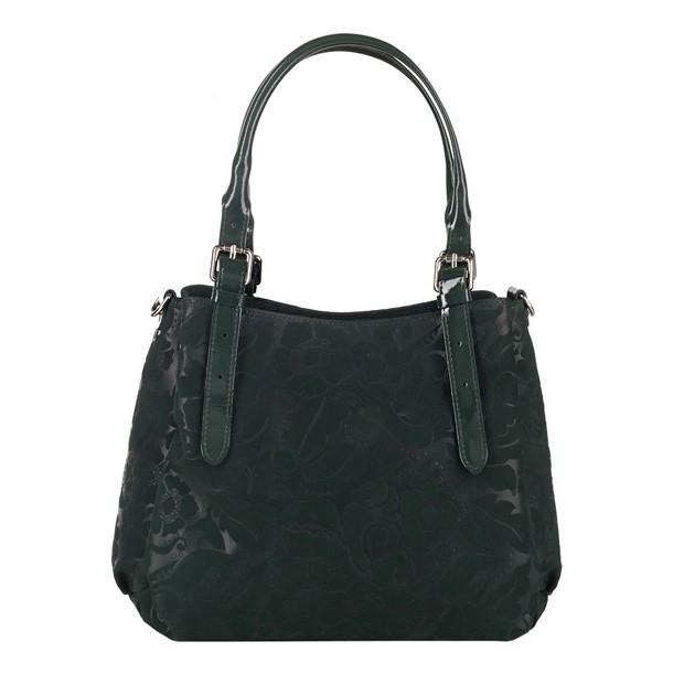 Włoska skórzana elegancka torebka kuferek tłoczona zielona (3736)