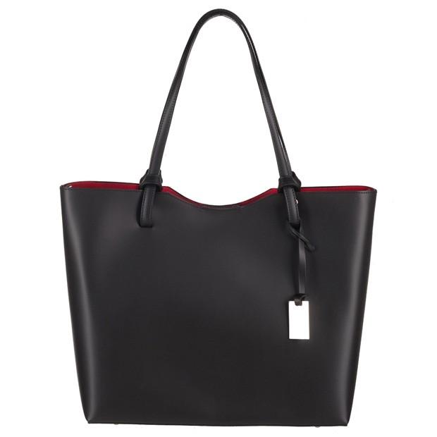 Włoska klasyczna torebka A4 matowa skóra czarna (3740)