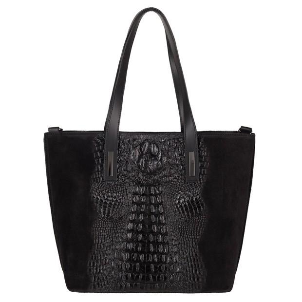 Włoska klasyczna torebka A4 zamsz+krokodyl czarna (3757)