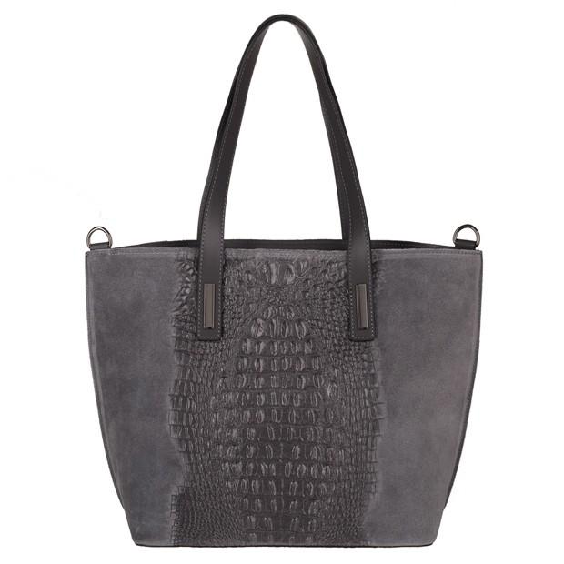 Włoska klasyczna torebka A4 zamsz+krokodyl szara (3758)