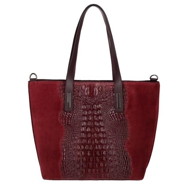 Włoska klasyczna torebka A4 zamsz+krokodyl bordowa (3759)