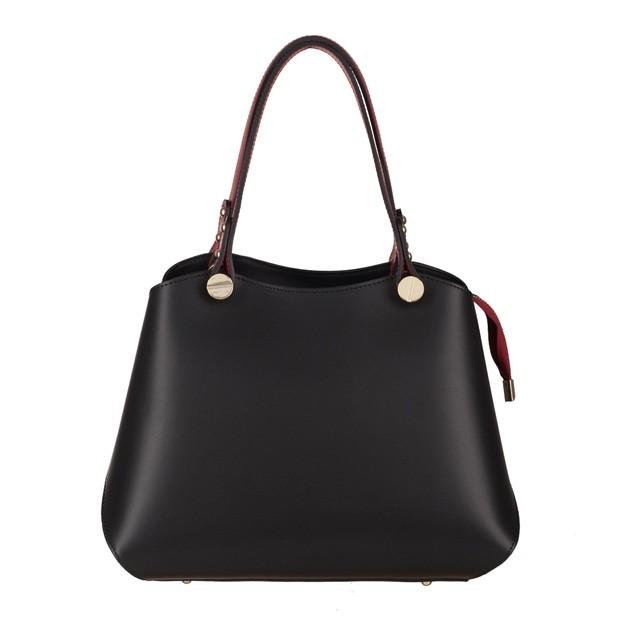 Vera Pelle - Włoska elegancka torebka kuferek matowa skóra czarna+bordo (3761)