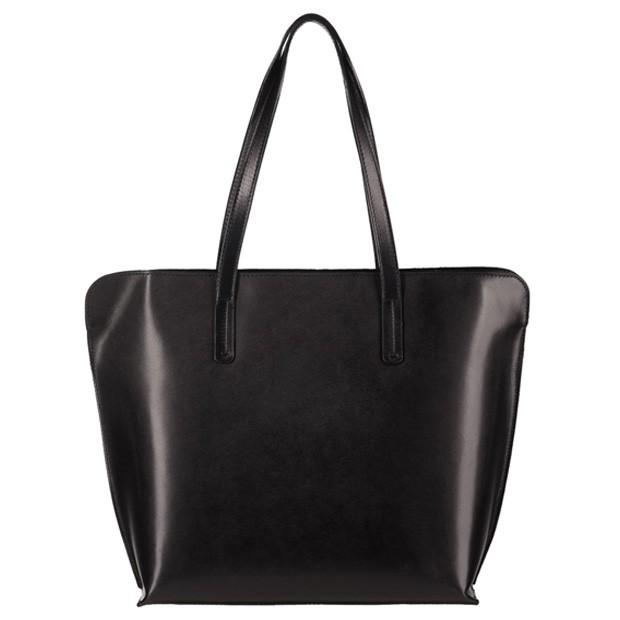 Włoska skórzana klasyczna torebka A4 czarna (3762)