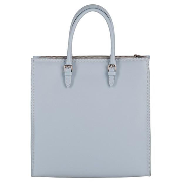 Włoska klasyczna torebka A4 matowa skóra błękitna (3765)