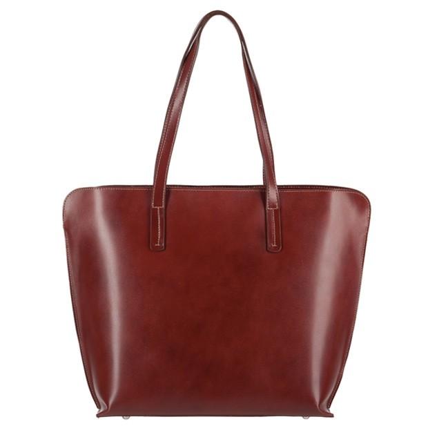 Włoska skórzana klasyczna torebka A4 brązowa (3773)