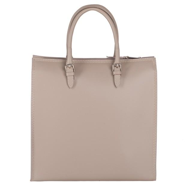 Włoska klasyczna torebka A4 matowa skóra ciemny beż (3774)