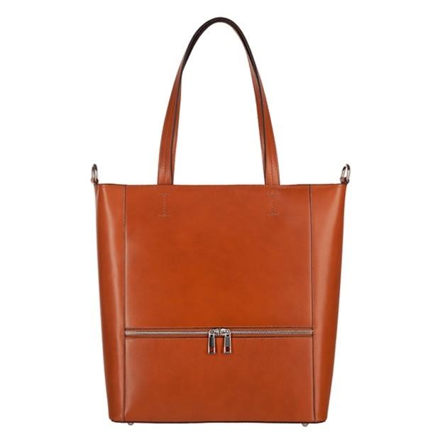 Włoska klasyczna skórzana torebka z zamkami camel (3775)