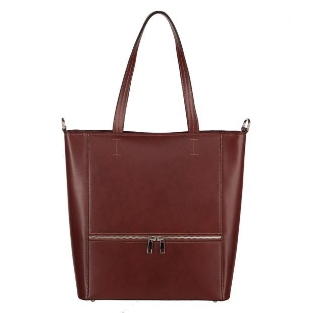 Włoska klasyczna skórzana torebka z zamkami brązowa (3776)
