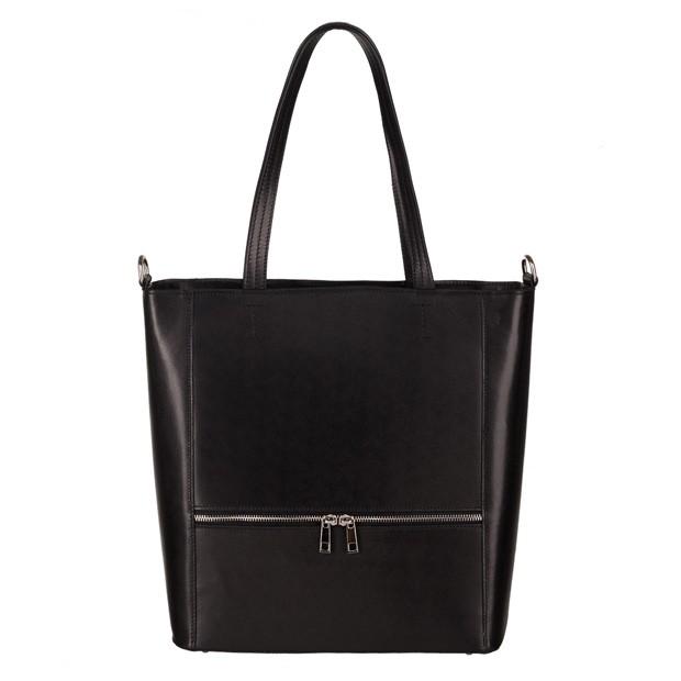Włoska klasyczna skórzana torebka z zamkami czarna (3777)