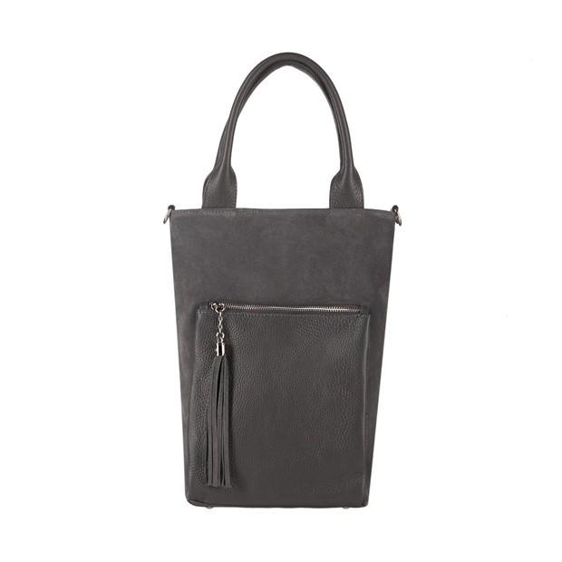 Włoska mała torebka worek z frędzlami zamsz+skóra grafitowa (3796)