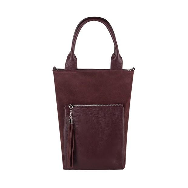 Włoska mała torebka worek z frędzlami zamsz+skóra bordowa (3797)