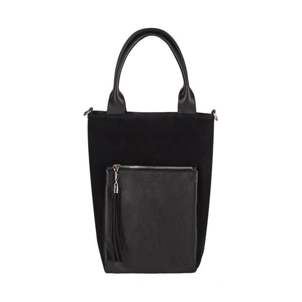 Włoska mała torebka worek z frędzlami zamsz+skóra czarna (3799)