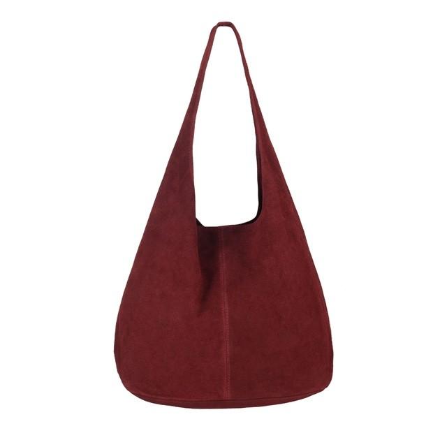 Włoska torebka worek zamsz naturalny bordowa (3811)